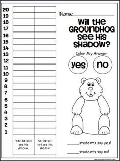 Free groundhog day prediction graph.  Students make their own predictions about Groundhog Day, then they tally the predictions from the whole class.