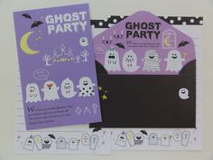 Ghost Party mini letter sets. 2 writing papers and 2 matching envelopes. From Crux Japan. The size of letter writing paper is about 3.5 x 5 inch. The size of the matching envelopes is about 2.75 x 4.2