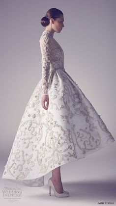ashi studio couture 2015 high neckline sheer sleeves illusion pleated bodice floral embroidery high low tea length wedding dress side view