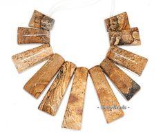 Vast Desert Picture Jasper Gemstone Brown Loose Beads by DayBeads, $7.99