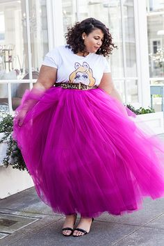 High Waist Plus Size Skirts High Quality 2016 New Arrival Knee Length Pleats Soft Tulle Summer Style Skirts Cheap From Lpdress's Store Curvy Girl Fashion, Plus Size Fashion, Carrie Bradshaw, Garner Style, Divas, Modelos Plus Size, Looks Plus Size, Moda Plus Size, Plus Size Beauty