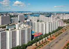A residential block of Pyongyang. .