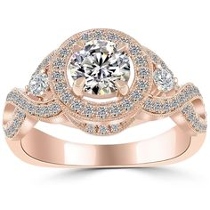 1.36 Carat F-SI1 Round Diamond Engagement Ring 14k Rose Gold Vintage Style