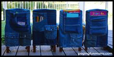 DIY Denim Kid's Chair Covers! A stylish and cost effective way to store children's writing tools & books. Full tutorial on how to make your own included.