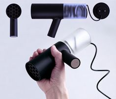 Crookedbrains: 15 Innovative Hair Dryers and Cool Hair Dryer Designs. Best Affordable Hair Dryer, Hair Dryer Brands, Best Hair Dryer, Electronics Projects, Apple Products, Shape Design, Hanging Wire, Minimal Design, Dry Hair