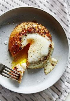 Egg in a bagel hole.