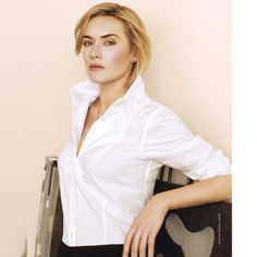 Kate Winslet looking fabulous in a fitted white shirt! #katewinslet #fabulous #fittedwhiteshirt