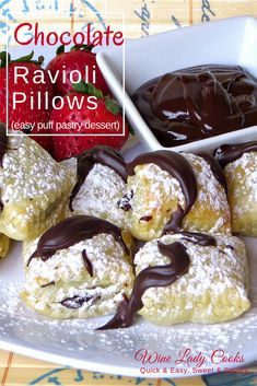 Chocolate Ravioli Pillows Chocolate Ravioli Pillows dessert recipe, easy to make dessert w/puff pastry for any occasion or party gathering. Click Thru for easy recipe. Easy Puff Pastry Desserts, Puff Pastry Recipes, Fancy Desserts, Just Desserts, Fast Dessert Recipes, Delicious Recipes, Pastries Recipes, Puff Pastries, Easter Desserts
