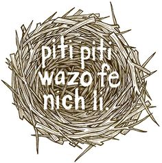 "Haitian proverb - it translates to ""little by little, the bird builds its nest"""