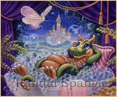 Bubble Fairies by Randal Spangler ~ fairytale castle ~ dragon Dragon Cat, Baby Dragon, Red Dragon, Magical Creatures, Fantasy Creatures, Mythical Dragons, Gothic Fantasy Art, Dragon Tales, Tela