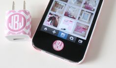 Printable iPhone Charger Wraps and Home Button Stickers, choose your color and type in your own monogram!