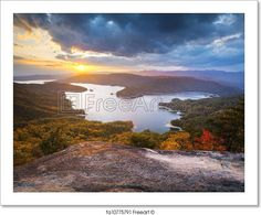 """Upstate south carolina fall foliage lake jocassee scenic autumn sunset landscape photography"" - Art Print from FreeArt.com"
