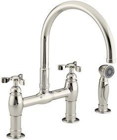 Kohler K 6131 3 Parq Deck Mount Bridge Faucet With Spray Polished Nickel