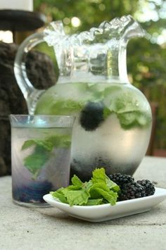 Right out of the garden!! A refreshing drink to keep in the spa fridge for clients. Mint and blackberries water.