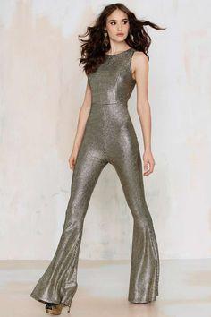 Nasty Gal Hot Shot Metallic Jumpsuit - Clothes | Rompers + Jumpsuits | Get Discovered | Rompers + Jumpsuits