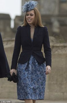 Easter Service - Princess Beatrice joined the Queen and Prince Philip at St George's Chapel in Windsor for the traditional service. 5th April 2015