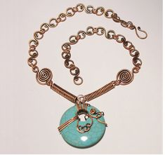 valentines day gift turquoise necklace  copper  by BeyhanAkman, $58.00