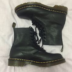 **brand new** leather doc martens  grunge black soft leather doc martens!! super comfortable and fashionable!! wearable with dresses or any outfit... an absolute necessity for any weather and wardrobe!! size 9 but really fits a size 7 1/2 - 8 (my size)!! Dr. Martens Shoes Combat & Moto Boots