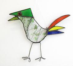 Stained Glass Bird Suncatcher Rainbow Tailed Jay