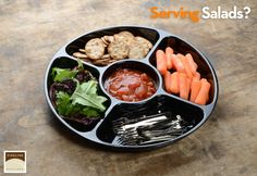Serving salads or finger food in plastic compartment trays, smart and simple! http://www.finelinesettings.com/Platter-Pleasers-Serving-Trays?itemno=3506