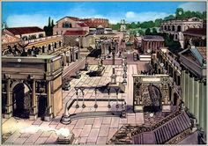 an artists impression of the Roman Forum Rome History, Ancient History, Roman Architecture, Ancient Architecture, Roman Bath House, Roman Warriors, Greek And Roman Mythology, Roman Forum, Roman City
