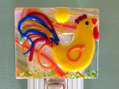 Rooster, Good Morning, Fused Glass, Rise and Shine, Bird, Night Light, Plug In, Country Decor