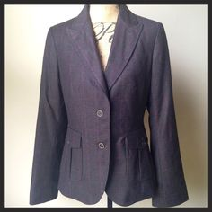 Banana republic suit jacket and pants Two button gray wool blazer and matching pants suit set. Both pieces are fully lined with a rich wine-colored lining. Suit is in like-new condition. Blazer lining features two inside pockets and purple piping along inside. 100% wool on the outside, lining is rayon/acetate blend. Pants are also 100% wool on outside, and lining is acetate. Dry clean only. Banana Republic Other