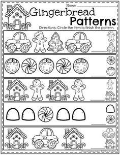 Preschool Patterns Worksheets - Gingerbread Theme for Winter Pattern Worksheets For Kindergarten, Patterning Kindergarten, Preschool Worksheets, Kindergarten Math, Preschool Activities, Christmas Worksheets, Christmas Activities, Preschool Lessons, Preschool Learning