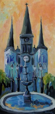 New Orleans Jackson Square Cathedral Fountain by MonaVivarFineArt
