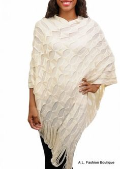 Ivory Textured Knit Poncho