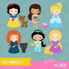 CUTE PRINCESS 1  Digital Clipart   Princess Clipart by grafos, $5.00