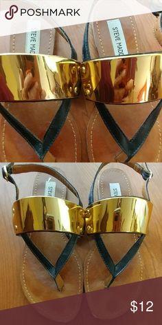 Steve Madden gladiator sandals Black leather and golden hardware,  good condition.  True to size Steve Madden Shoes Sandals