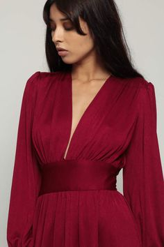 Your place to buy and sell all things handmade Geometric Fashion, Grecian Goddess, Professional Attire, Fashion Books, Plunging Neckline, Vintage 70s, Empire, Wrap Dress, Burgundy