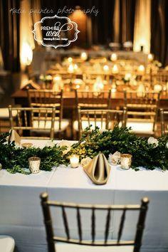 Boxwood Garland Centerpiece - Romance at Rosewall | Premier W.E.D. - Katie Painter Photography - Gold wedding