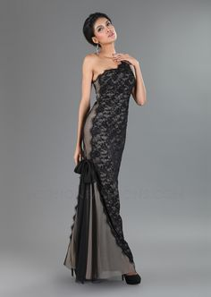Black & Nude Sequin Lace One Shoulder Evening Gown - Unique Vintage - Pinup, Holiday & Prom Dresses.