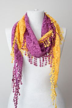Lace Scarf Lilac Scarf Lace Fringe Scarf Triangle Scarf by Oxoo