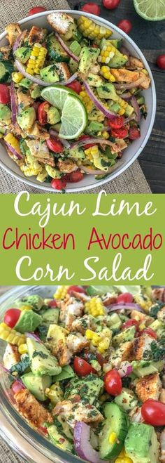 Cajun Lime Chicken Avocado Corn Salad - this salad has so much flavor! Creamy, light, and drizzled with a Cilantro Lime Dressing. It is quick and easy to make and perfect for your next barbecue or get together. Light on the calories, coming in at only 203 calories per 1 cup serving. The best part? It's just as delicious the next day, making this a good meal for your to-go lunches. #avocado #salad #chickensalad #healthy | https://withpeanutbutterontop.com