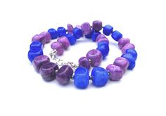Statement necklace with purple and dark blue marble For her Gemstones stones Purple Dark blue Unique Marble Perfect gift Women OOAK - pinned by pin4etsy.com