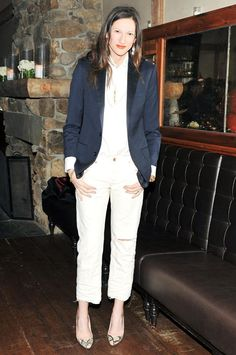: Not surprisingly, Lyons has mastered the art of dressing up J.Crew. We love this preppy blazer with boyfriend jeans and pumps.