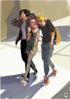 Modern Team 7 ♥♥♥ Naruto, Sasuke, Sakura ♥ #Team7 #Friends #Rivals #Comrades #Together #Love #Care #War