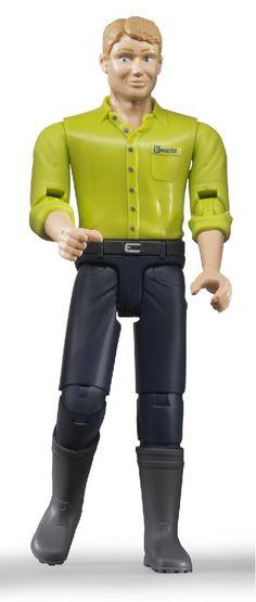 Man met blond haar, blauwe broek en laarzen 1:16  Afmetingen: 10.7 cm H