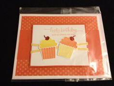 Homemade Card - Birthday Card - Greeting Card - Cupcake Card - Stampin Up Card - Set of Cards. $14.00, via Etsy.
