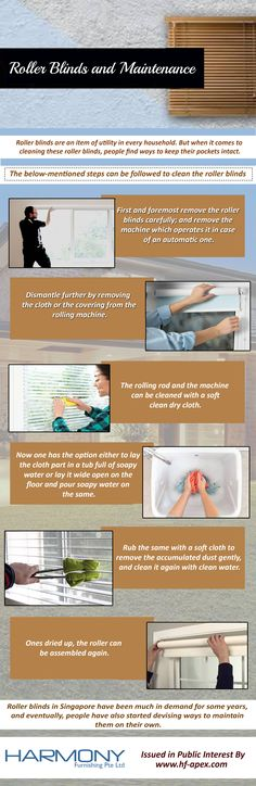 Roller blinds in Singapore have been much in demand for some years, and eventually, people have also started devising ways to maintain them on their own. Check out the infographic for more details.