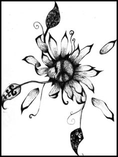 "Sunflower tattoo ♡ - I want to incorporate a peace sign and heart in it some how and have beautiful script for ""Pura Vida"""
