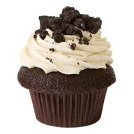 Cookies and Cream Dark Cocoa Cupcake with Vanilla Bean Icing topped with Cookie Crumble