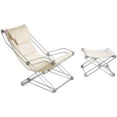 Italian Sling Chair and Ottoman | 1stdibs.com
