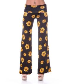 Look what I found on #zulily! White Mark Black & Yellow Sunflower Palazzo Pants by White Mark #zulilyfinds