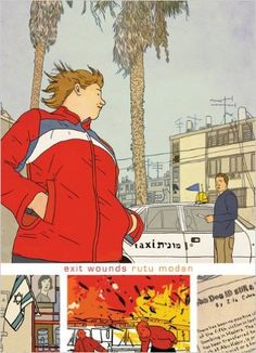 """""""Exit Wounds"""" Rutu Modan, Drawn & Quarterly, Montréal, 2008 - just read (Apr '16). Not my ideal drawing style but the story got me hooked. The ending was a bit disappointing, or I'd have liked it to have gone on longer maybe. Hmm..."""