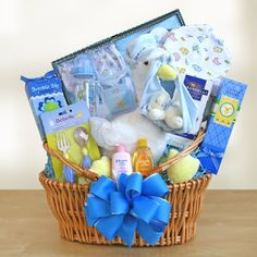 Special Stork Delivery for Baby Boy Our cuddly white stork nests happily in a woven basket surrounded by goodies! Seven piece baby gift set includes one-piece outfit, baby bib, cap, infant mittens, two baby washcloths, brush & comb set, baby bottle, baby fork, spoon and Johnson and Johnson lotion & shampoo. Mom gets  TLC too with delicious treats. $118.99 + s/h - http://shop.o2o.com/item.php?LBB-HZF362M2x-19178 http://www.kandms.labellabaskets.com/ http://www.kandms.labellabaskets.com/