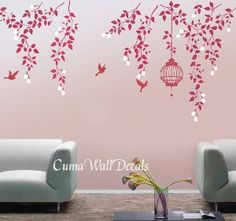 -birdcage-birds-wall-decor-mural--pink-vine-flowers-birdcage-and-birds-